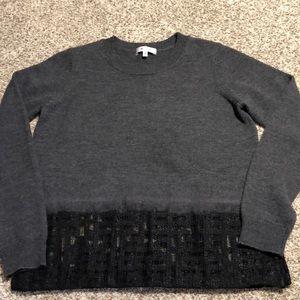 Milly Mesh Trimmed Merino Sweater